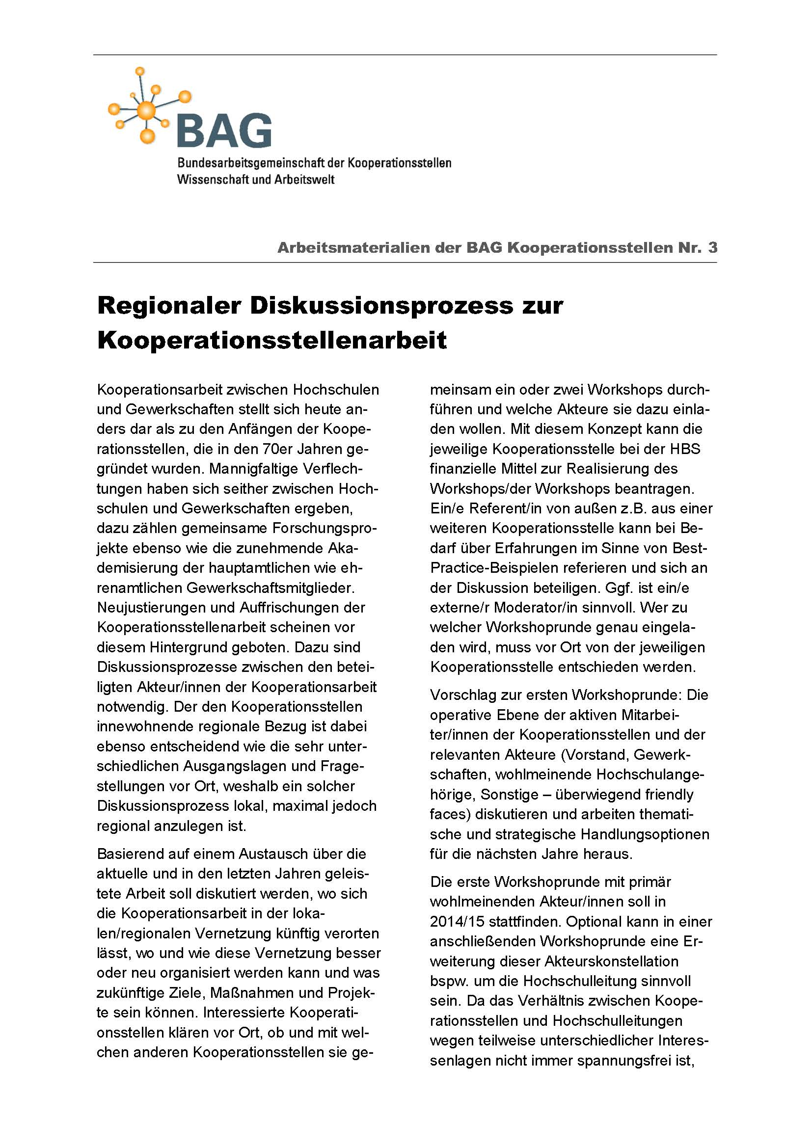 Arbeitsmaterialien der BAG Kooperationsstellen Nr. 3