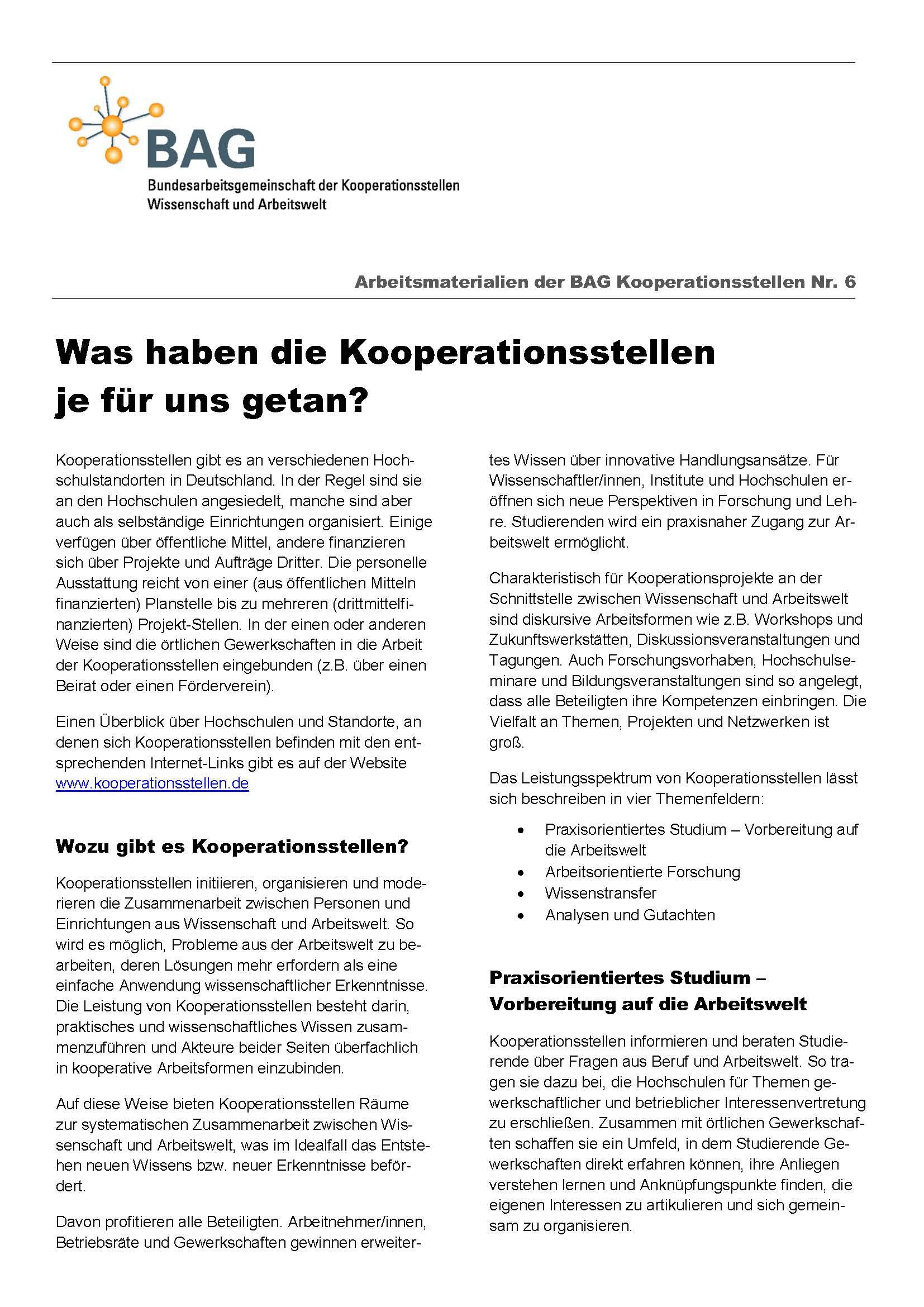 Arbeitsmaterialien der BAG Kooperationsstellen Nr. 6