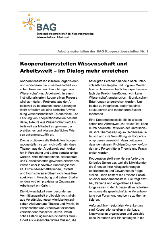 Arbeitsmaterialien der BAG Kooperationsstellen Nr. 1